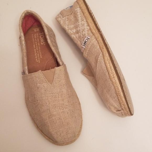 7237e19b1 Toms Shoes | Natural Metallic Burlap Womens Classics | Poshmark